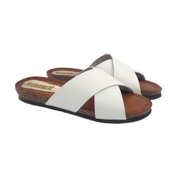 FLAT SANDALS WHITE IN LEATHER