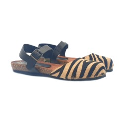 FLAT SANDALS BROWN ZEBRA PATTERN IN LEATHER