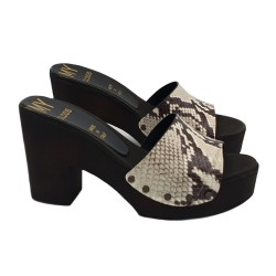 PYTHON CLOGS IN LEATHER HEEL 9