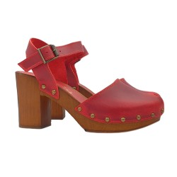 RED CLOGS IN LEATHER WITH OPEN TOE