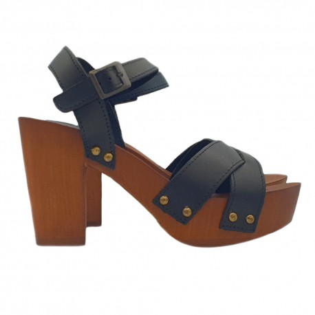 CLOGS BLACK IN LEATHER  HEEL 9