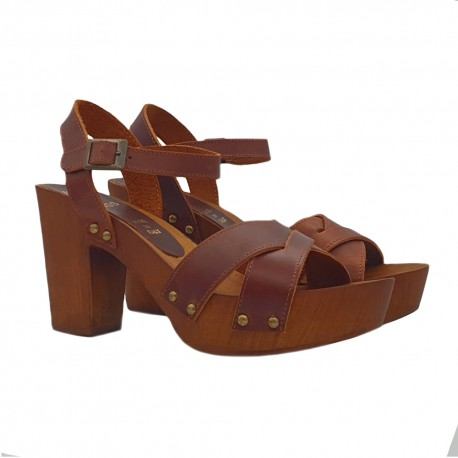 CLOGS BROWN IN LEATHER  HEEL 9