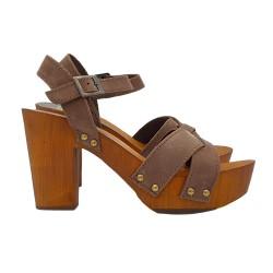 CLOGS TAUPE IN LEATHER HEEL 9