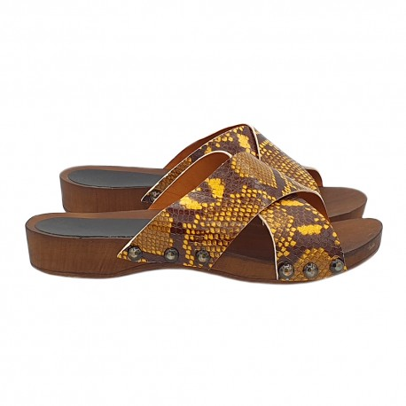 FLAT SLIPPERS IN YELLOW LEATHER PYTHON PATTERN