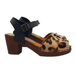 CLOGS ANIMALIER IN LEATHER HEEL 7