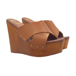 Wedges Clogs Double Leather Bands
