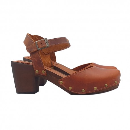 CLOGS IN LEATHER HEEL 6 WITH ANKLE STRAP