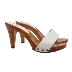 WHITE LEATHER CLOGS HEEL 9